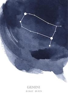 Illustrazione dell'acquerello di astrologia della costellazione dei gemelli. simbolo dell'oroscopo dei gemelli fatto di scintillii e linee di stelle.