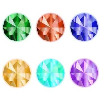 Vettore di gemme. smeraldo. sardo. zaffiro. topazio. icona di gemme di raccolta per il design del gioco. pietra preziosa su sfondo bianco