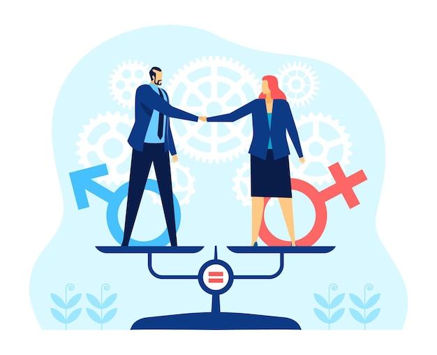 Uomo e donna d'affari per la parità di genere in piedi sull'equilibrio bilancia il concetto di vettore di pari diritti