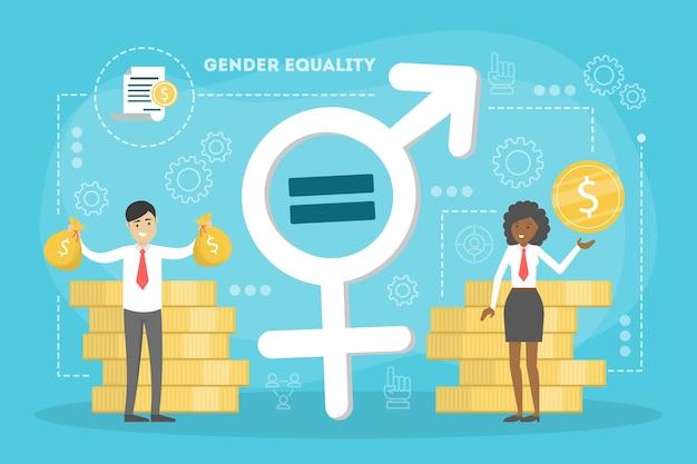 Concetto di uguaglianza di genere. personaggio femminile e maschile