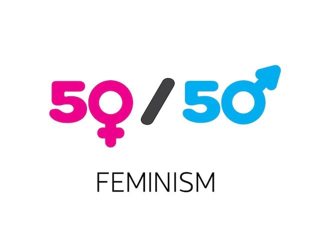 Concetto di uguaglianza di genere. simboli di genere illustrazione vettoriale in stile piatto