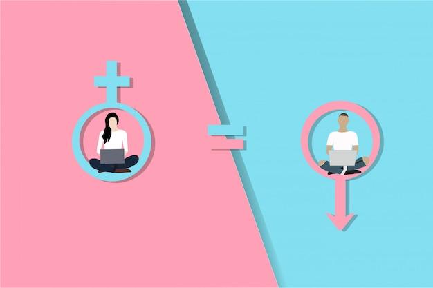Concetto di uguaglianza di genere. donna e uomo vettoriale su loghi rosa e blu di genere.