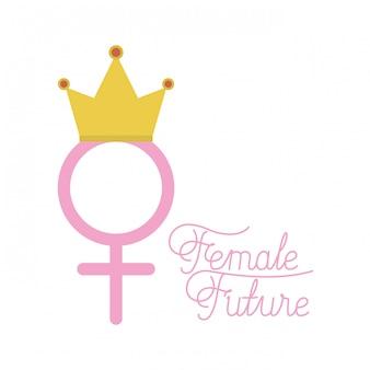 Simbolo femminile di genere con corona