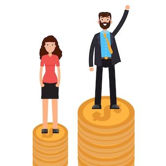 Divario di genere, differenza commerciale e discriminazione, uomo contro donna, concetto di disuguaglianza.