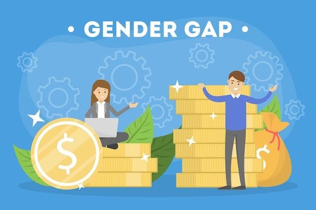 Concetto di divario di genere. idea di stipendio diverso