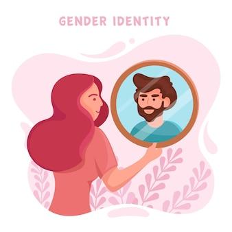 Illustrazione di concetto di identità di genere con la donna e lo specchio