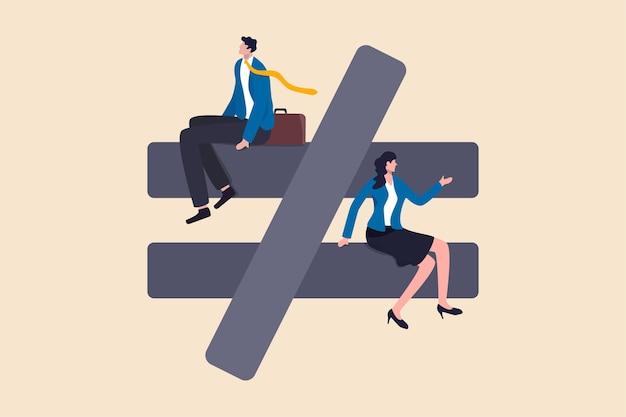 Disuguaglianza di genere, discriminazione ineguale su donna o donna come concetto di problema di carriera, lavoro o diritti sociali, segno di disuguaglianza o non uguale con uomo d'affari al livello superiore e imprenditrice al livello inferiore