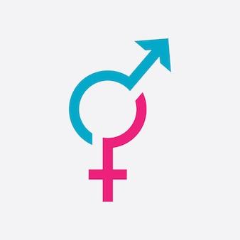 Il logo del simbolo di genere del sesso e l'uguaglianza di maschi e femmine vector illustration