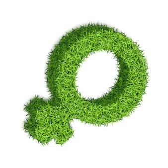 Simbolo di genere di una donna. disegno 3d di erba testurizzata, su uno sfondo bianco.