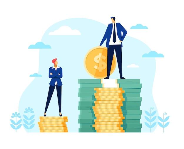 Divario salariale di genere uomo d'affari imprenditrice stare su una pila di soldi disuguale retribuzione discriminazione finanziaria
