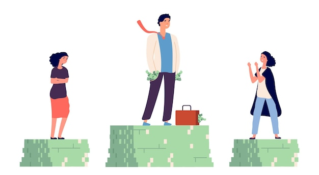 Divario salariale di genere. concetto di reddito disuguale.