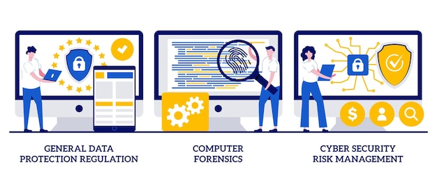 Regolamento generale sulla protezione dei dati, informatica forense, concetto di gestione del rischio di sicurezza informatica con persone minuscole. set di illustrazioni vettoriali astratte per il controllo e la sicurezza delle informazioni.