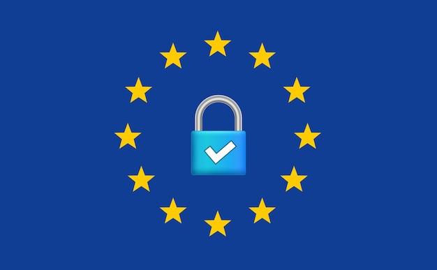 Regolamento generale sulla protezione dei dati gdpr. sicurezza europea di internet. protezione dei dati sicura della privacy.