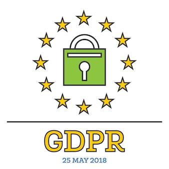 Regolamento generale sulla protezione dei dati (gdpr). lucchetto con stelle. illustrazione di vettore.