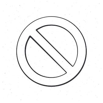 Segnale di divieto generale illustrazione vettoriale di contorno cerchio con linea diagonale che lo attraversa