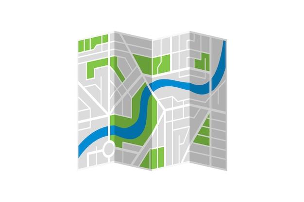 Piano di mappa piegato via immaginaria generica della città con il fiume. schema isolato dell'illustrazione piana di eps della città variopinta di vettore
