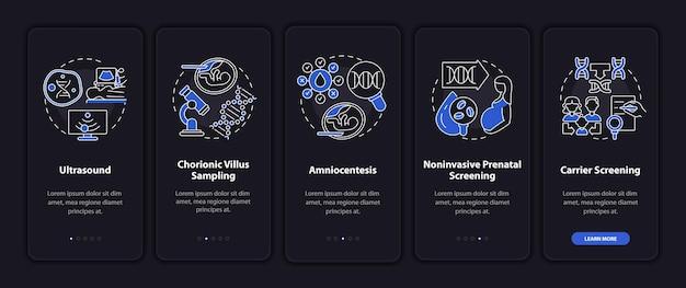 Test di malattie genetiche a bordo della schermata della pagina dell'app mobile con concetti