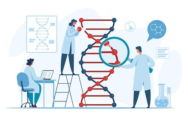 Scienziati di ricerca genetica del dna che ricercano e analizzano la molecola dell'elica in laboratorio