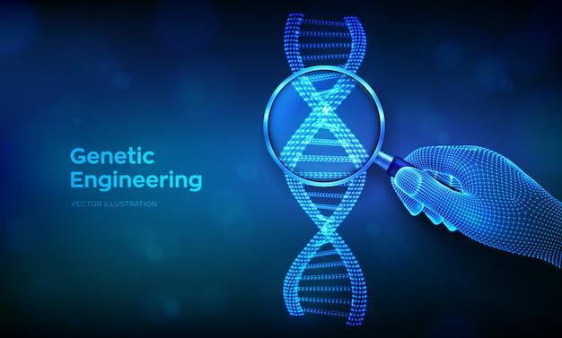 Concetto di ingegneria genetica con lente d'ingrandimento in mano e sequenza di codici dna. maglia metallica della struttura delle molecole di wireframe dna.