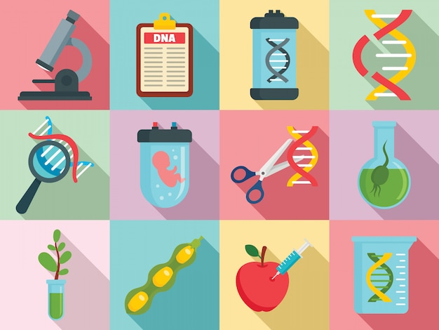 Set di icone di ingegneria genetica, stile piano