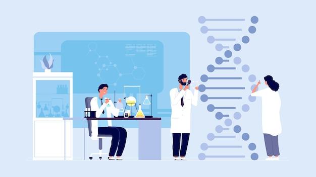 Scienza genetica. ricerca di laboratorio di molecole di dna, informazioni sulla struttura del gene