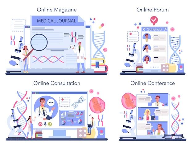 Servizio online di genetista o set di piattaforme