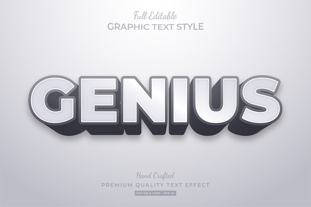 Genius clean modern editable text effect font style