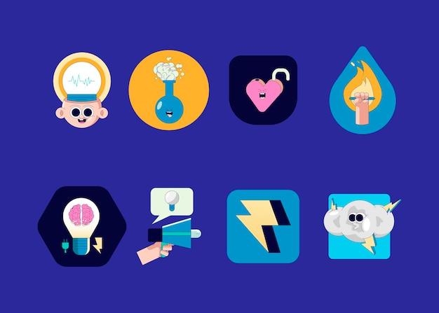 Vettore di raccolta di badge di idee geniali