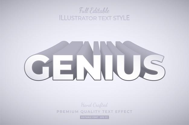 Genius long shadow modificabile 3d text style effect premium