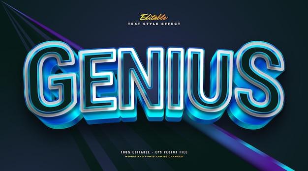 Stile di testo genius in bianco e blu con effetto grassetto 3d. effetto stile testo modificabile