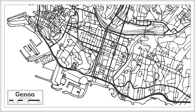 Mappa della città di genova italia in stile retrò. mappa di contorno. illustrazione di vettore.