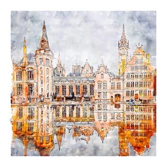 Illustrazione disegnata a mano di schizzo dell'acquerello del belgio di gent