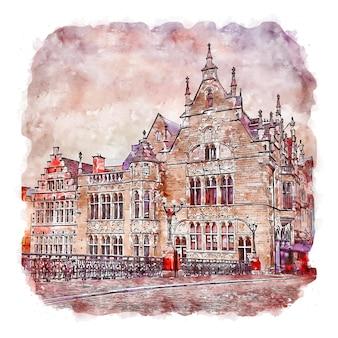 Gent belgio illustrazione disegnata a mano di schizzo ad acquerello