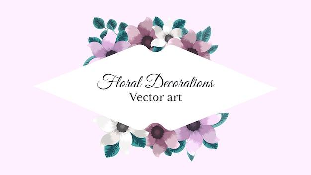 Cornice delicata del mazzo floreale della primavera con i fiori. biglietto d'auguri vintage, matrimonio, social media, web, ornamento decorativo, etichetta. illustrazione vettoriale.