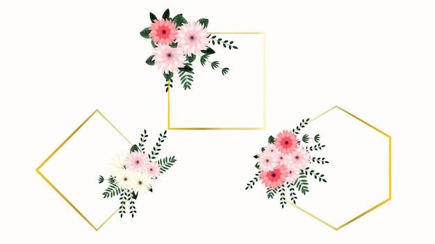 Cornice di bouquet floreale primaverile delicato con fiori vintage greeting card matrimonio social media web