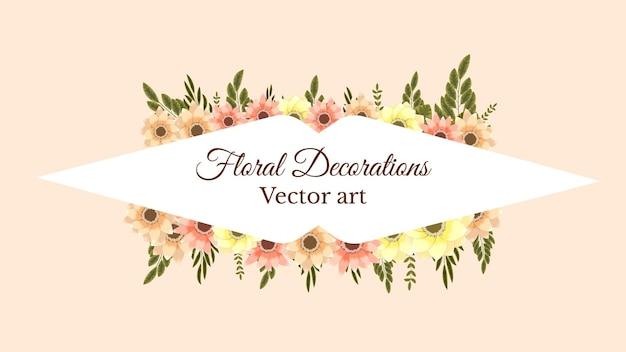 Cornice di bouquet floreale primaverile delicato con etichetta di ornamento di decorazioni web di fiori illustrazione vettoriale