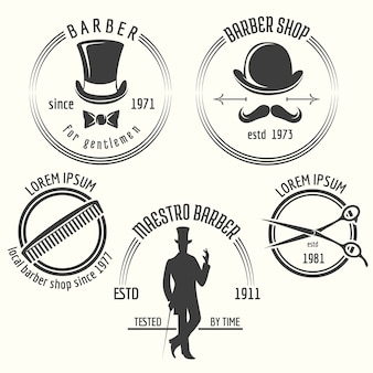 Etichette del negozio di barbiere gentiluomo. etichetta gentiluomo, barbiere distintivo, salone gentiluomo, illustrazione vettoriale