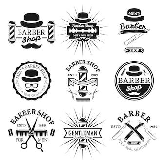 Insieme del negozio di barbiere del signore delle etichette monocromatiche d'annata di vettore, distintivi, emblemi isolati su bianco