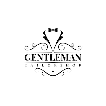 Gentleman papillon smoking vestito moda abiti su misura vintage classico logo design vector