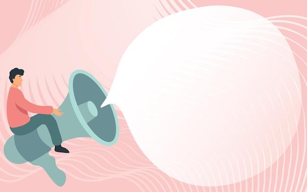 Gentiluomo che disegna in sella a un grande megafono che mostra un uomo con un fumetto seduto su un amplificatore vocale con