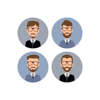 Illustrazione di arte di vettore dell'avatar del lavoratore dei pantaloni a vita bassa del signore