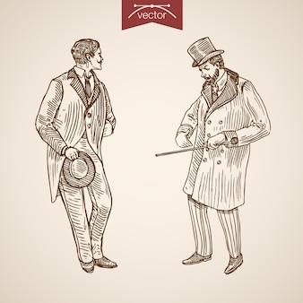 Gentleman tradizionalmente accessorio di abbigliamento che indossa cappotto cilindro cappello bastone da passeggio tie icon set.