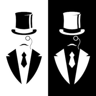 Gentiluomo in smoking e cappello vintage