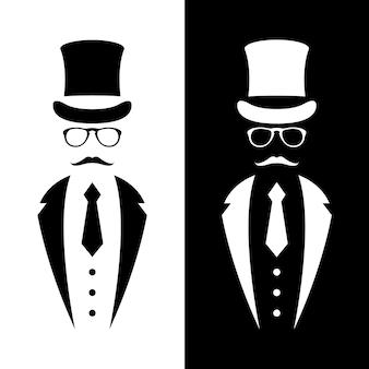 Gentiluomo che indossa abito retrò cappello fiocco e occhiali