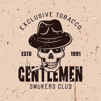 Emblema dell'annata di vettore del club fumatori signori su sfondo con texture grunge