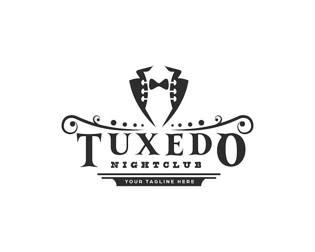 Gentlemen tuxedo con paletta per chitarra come design del logo dello spazio negativo
