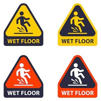Pavimento leggermente bagnato che cade di una persona a causa di un pavimento bagnato