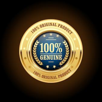 Insegne dorate del prodotto genuino e originale