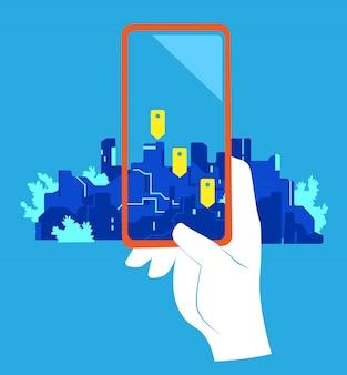 App di geolocalizzazione. una mano che indica un cellulare con lo schermo dei geo pin contro la città