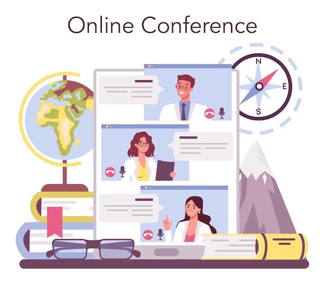 Servizio o piattaforma online di geografo.